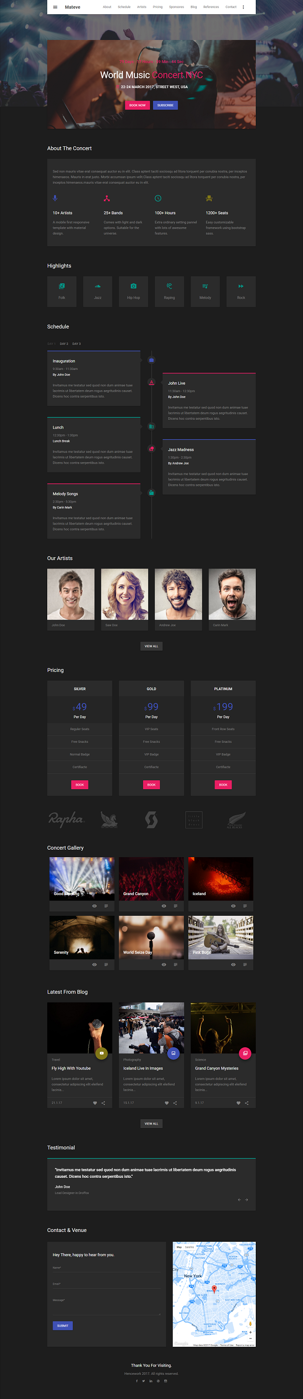 Mateve - Material Design Event / Conference / Concert HTML Template - 1