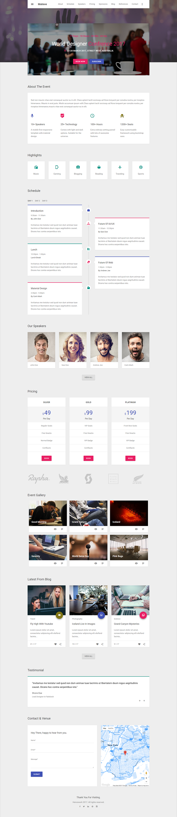 mateve material design event conference concert html template